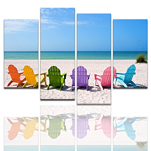 Landscape Canvas Wall Art,Beach Chair Canvas Prints,Framed and Stretched Picture Art
