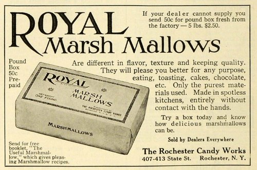 1919 Ad Rochester Candy Works Royal Marsh Mallows Food Baking Products New York - Original Print - Mall Marsh