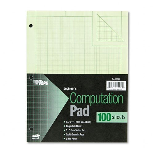 TOPS : Engineering Computation Pad, Quad Rule, Letter, Green Tint, 100 Sheets per Pad -:- Sold as 2 Packs of - 1 - / - Total of 2 Each by Tops
