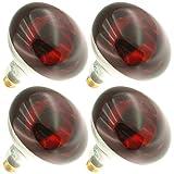 Industrial Performance 250R40/10, 250 Watts, 130 Volts, R40 Base, 5000 Hour Life, Medium Screw (E26) Base, Infrared Red-Bowl Light Bulb (4 Bulbs)