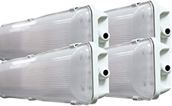 96W LED 4 Ft 4-Light Premium Brushed Nickel Flush Mount Hardwired Fixture 6500K