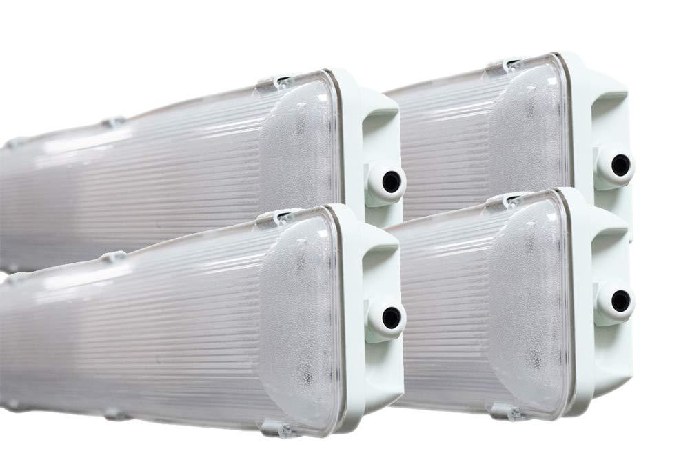 (4 -パック) orilisグレーVapor Tight防水4 ft。2-light天井照明器具48 W LED t8チューブ – 交換用より(4 ) 32 W蛍光灯電球6500 K 30 % 18 W LED電球 B07C34PWH5