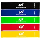 Sport2People Workout Strength Bands Loop Set with Carry Bag and ebook (5 Piece)