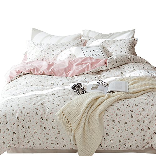 OTOB Reversible Duvet Cover Set with 2 Pillow Shams for Kids Flowers Floral Pattern Colorful 3 Piece Girls Bedding Set (Twin, Style 05)