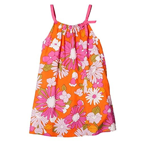 Pink Chicken Girls' Happy Line Citrus Orange Flowered Dress (3Y)
