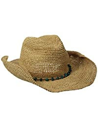 San Diego Hat Company Women's Crochet Raffia Cowboy Hat with Turquoise Hat