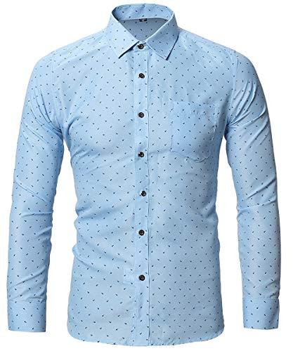 FLY HAWK Mens Tapered Untuck Dress Shirts Slim Fit Polka Dot Formal Shirts Sky Blue US XS