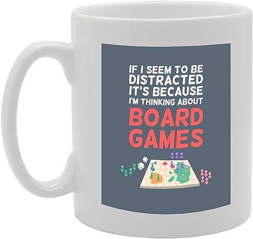 Si parezco estar distraído S porque estoy pensando en juegos de mesa Novedad Regalo Té Café Taza de cerámica: Amazon.es: Hogar