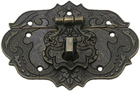 TOOGOO Pestillo Cerrojo Corchete de 77 mm x 57 mm Caja de herramientas del pecho Caja de madera tono de bronce