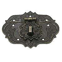 Pestillo de estilo antiguo - TOOGOO(R)Pestillo Cerrojo Corchete de 77 mm x 57 mm Caja de herramientas del pecho Caja de madera tono de bronce