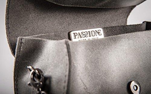 Donna Con A Tipo In Made Grigio Eva Sfoderata Pelle Italy Passionebags Vintage Patta - Borsa Vera Effetto Pochette Da Tracolla