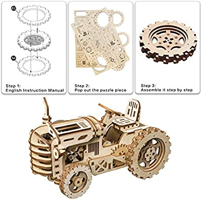ROKR Mechanical Models,3-D Assembly Wooden Puzzle,DIY Assembly Toy,Mechanical Gears Constructor Engineering Kits,Brain Teaser,Best Gifts for Adults & Teens: Toys & Games