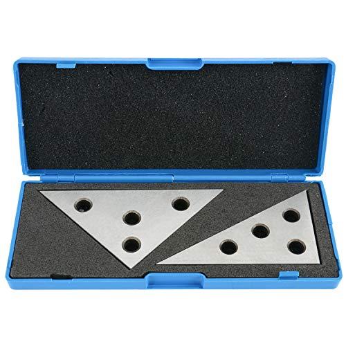 YaeTek 2 Pcs Solid Precision 30-60-90 Degree Angle and 45-45-90 Degree Angle Plates Angle Block Set Machinist Tool (Plastic Case)