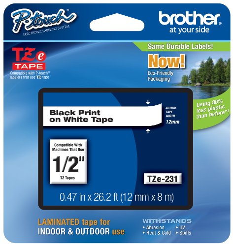 "Price comparison product image Brother P-touch Tze231,  1 / 2"" (0.47"") Black on White Standard Laminated Tape - 26.2 ft. (8m)"