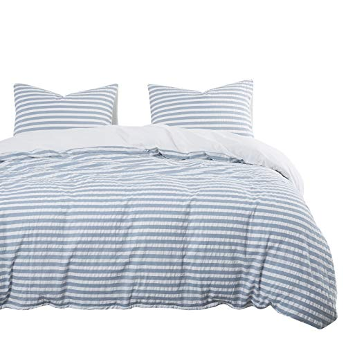 Wake In Cloud - Seersucker Duvet Cover Set, 100% Yarn Dyed Washed Cotton Bedding, White Blue Wrinkled Striped (3pcs, Twin Size)