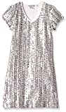 Flowers by Zoe Big Girls' Short Sleeve Gold Sequin Dress, Off White, Medium