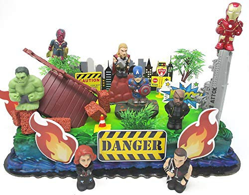 20 Piece AVENGERS & FRIENDS SUPER HERO Birthday Cake Topper Set Featuring Avenger Super Hero Crew Characters and Decorative Themed Accessories]()