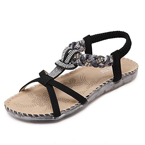 la punta per YMFIE vacanza donna la casual da zeppa e strass B con della con Sandali Boemia morbida sandali xwSwB06qp