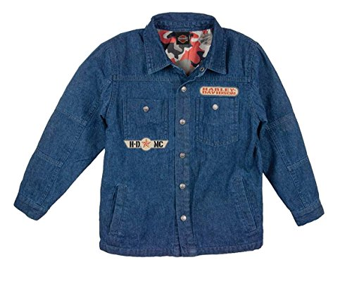 (Harley-Davidson Boys Youth Winged Trademark B&S Quilted Denim Shirt Jacket (8/10))