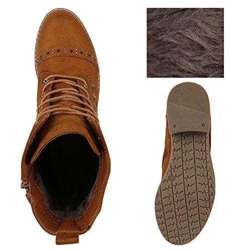 Stiefelparadies Damen Stiefeletten Schnürstiefeletten Worker Boots Zipper Schuhe Flandell Hellbraun Brooklyn