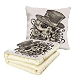 iPrint Quilt Dual-Use Pillow Day of The Dead Decor Sketchy Mexican Spanish Festive Celebration Skull Head Flowers Multifunctional Air-Conditioning Quilt Dimgrey and White
