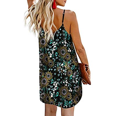 AlvaQ Women Summer Spaghetti Strap Button Down V Neck Sleeveless Casual Mini Dress at Women's Clothing store