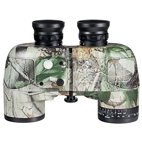 HUTACT Military Binoculars 10x50 for Hunting, with Compass Measurement Direction, Built-in Ranging Ruler, Large Eyepiece Lens, Large Field of Vision, Suitable for Hunting, Cross-country and Travel by HUTACT