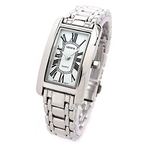 Geneva Silver Bracelet Rectangle Face Classic Roman Hours Women's Jewelry Bracelet Watch (Watch Geneva Link Bracelet)