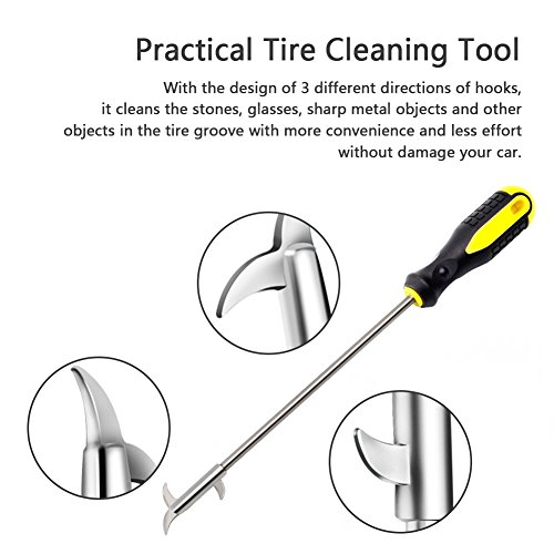HaloVa Car Tire Cleaning Hook, Quality Car Tire Care Tool, Anti-slip Rust-resistant Convenient Practical Groove Gap Stones Cleaner, with 3 Hooks by HaloVa (Image #3)