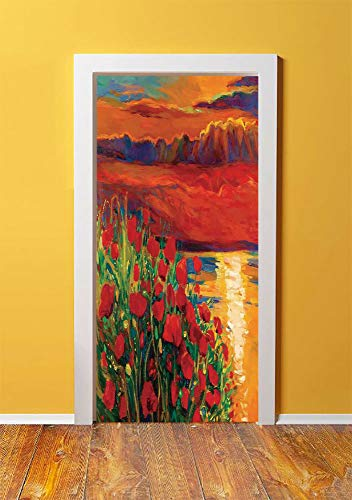 (Flower 3D Door Sticker Wall Decals Mural Wallpaper,Oil Painting View Stone Stairs in the Greek Garden Greenery Forest Picture,DIY Art Home Decor Poster Decoration 30.3x78.6725,Orange Red Green)
