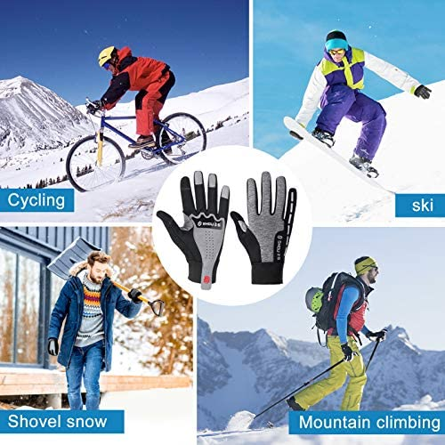 Winter Gloves Men Women Mountain Bike Gloves Touch Screen Thermal Fleece Warm Gloves for Cold Weather, Great Grip Running Cycling Driving Training Motorcycle Gloves Windproof Waterproof, Black