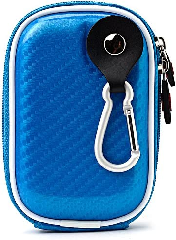 Carbon Fiber Light Blue Carrying Case for Casio EXILIM Card EX S200 EX FH100 EX G1 EX H30 EX Z16 EX ZR10 EX ZR100 EX ZS5 EX ZS10 Point and Shoot Digital Camera and Screen Protector