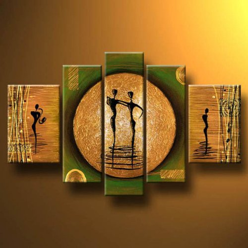 Wieco Art 5 Panels Abstract Oil Paintings on Canvas Wall Art for Living Room Bedroom Home Decorations Dance on a Golden Moon Large Modern 100% Hand Painted Gallery Wrapped People Dancing Artwork L