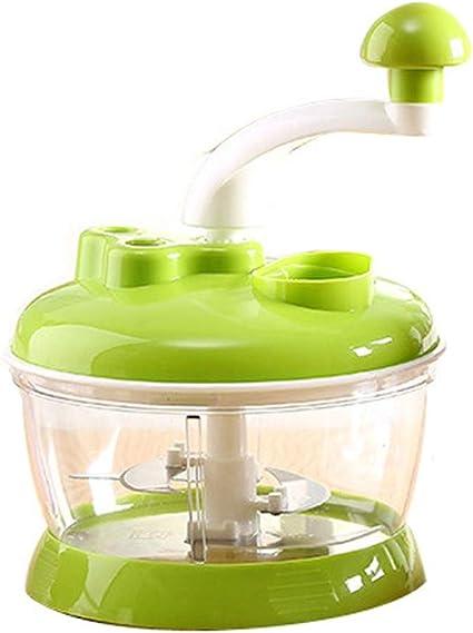 Wmeat Tritatutto Manuale Multifunzione Tagliaverdure Tritacarne Manovella Robot Da Cucina Con Coltelli In Acciaio Inox Color Green Amazon It Casa E Cucina