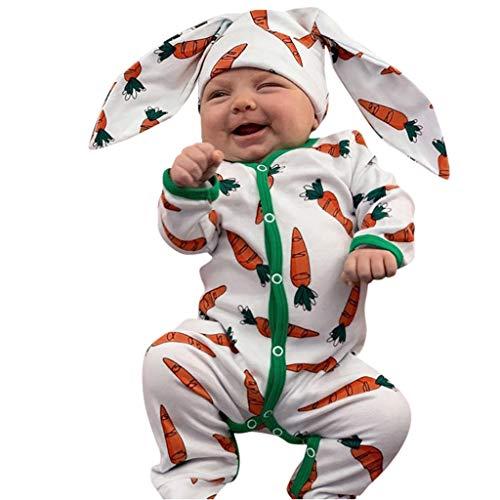 Xmiral Baby jongens meisjes cartoon wortelprint jumpsuit + konijnenoren hoed outfit