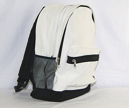 Victoria's Secret PINK Campus Backpack White Black Perforated Leather Bookbag by Victoria's Secret (Image #1)
