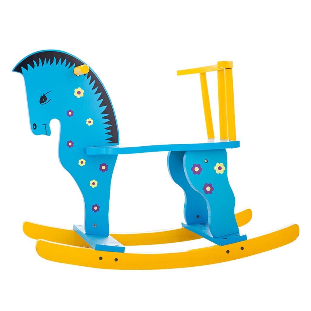 ロッキングホース ZJING トロイア 子供のおもちゃ ベビーロッキングチェア 無垢材 赤ちゃん 1~3歳 ギフト キャリッジロッキングクレードル ブルー  ブルー B07QLJWNWN