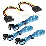 RELPER 3x 18in SATA iii Cable 6Gbps Right Angle with Locking Latch Transparent blue and Power 4 Pin to Dual 15 Pin SATA Power Splitter Cable