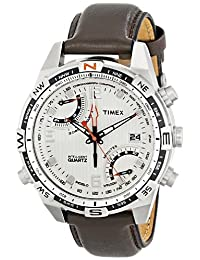 Timex Men's T46866 Intelligent Quartz Fly Back Chrono Compass Silver Case Brown Strap Watch