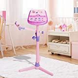 Kids Karaoke Machine With MP3 Function Adjustable Stand, Music Sing Along with Flashing Stage Lights by HANMUN