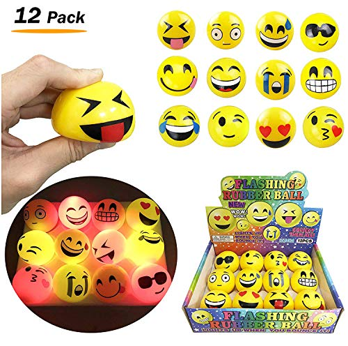 Liberty Imports Set of 12 LED Flashing Emoji Face Squeeze Bouncy Balls (2 inches) - Stress Relief Rubber Toys for Kids and Adults, Party Favor by Liberty Imports