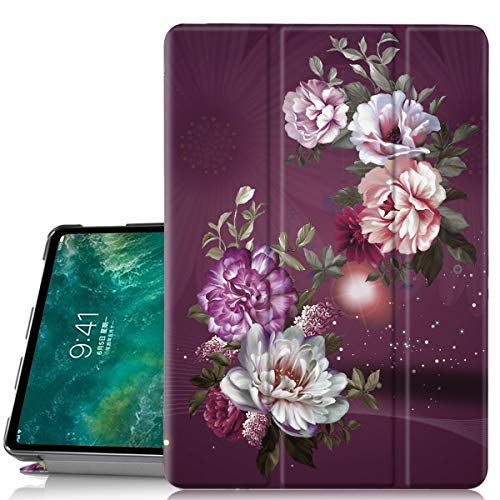 iPad Pro 11 Case, Hocase Trifold Folio Stand Smart Case w/PU Leather, Auto Sleep/Wake, Plastic Hard Back Cover for iPad A1980/A2013/A1934 [Apple Pencil Charging NOT Supported]- Burgundy Flowers