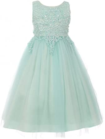 db31eb84d Little Girl Pearl Sequin Tulle Pageant Junior Bridesmaid Wedding Flower  Girl Dress Mint 4 (50C08C