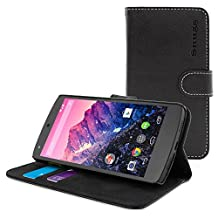 Nexus 5 Case, Snugg™ - Black Leather Wallet Case Cover & Stand [Lifetime Guarantee] Protective Folio for Google Nexus 5