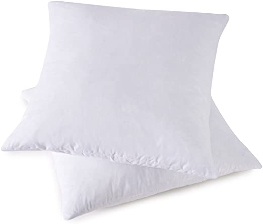 Basic Home 14x14 Decorative Throw Pillow Inserts-Down Feather Pillow Inserts-Square-Cotton Fabric-Set of 2-White.