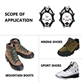 Weanas Ice Cleats Crampons Traction, Ice Snow Grips for Boots Shoes, Anti Slip Stainless Steel Spikes Safe Protect for Hiking Fishing Walking Climbing Jogging Mountaineering 1 Pair, 18-Crampon Large
