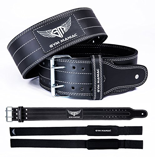 Gym Maniac Leather Gym Weight Lifting Belt with Wrist Straps | Compact, Adjustable, Comfy Fitness Belt | Improve Back Support & Stability | for Powerlifting, Crossfit, Squats, Overhead (Medium)