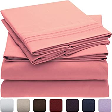 Mellanni Bed Sheet Set - HIGHEST QUALITY Brushed Microfiber 1800 Bedding - Wrinkle, Fade, Stain Resistant - Hypoallergenic - 4 Piece (Queen, Pink)