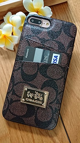GIBBON iPhone6/7/8 Plus - US Fast Deliver - New Elegant Luxury Designer PU Leather Monogram Card Slot Style Cover Case For Apple iPhone 6PLUS 7PLUS 8PLUS ONLY (CO Badge Brown)