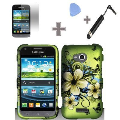(Rubberized Green Hawaiian Flower Snap on Design Case Hard Case Skin Cover Faceplate with Screen Protector, Case Opener and Stylus Pen for Samsung Galaxy Victory 4G LTE L300 - Sprint)